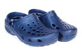 Blue rubber slippers, for use at work and on vacation Royalty Free Stock Photo