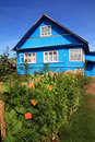 Blue rural house Royalty Free Stock Image