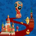 Blue Russia world cup football background.