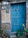 Blue rustic door background Royalty Free Stock Photo