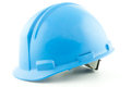 Blue safety helmet a hardhat from a worker Royalty Free Stock Photography