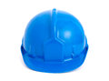 Blue safety helmet isolated on white background Royalty Free Stock Images
