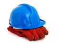 Blue safety helmet and red gloves isolated on white background Stock Images