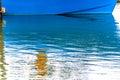 Blue sailboat reflection westport grays harbor washington state county puget sound pacific northwest Stock Image