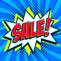 Blue sale web banner. Pop art comic sale discount promotion banner. Big sale background. Decorative background with bomb
