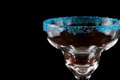 Blue salt rim margarita glass Royalty Free Stock Image