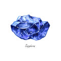 Blue sapphire rough gemstone isolated watercolor. Crystal mineral illustration on white background. Royalty Free Stock Photo