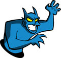 Blue satan cartoon style illustrated Stock Photos