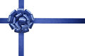 Blue satin ribbon with bow isolated on white background Stock Images