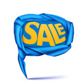 Blue satin ribbon speech bubble sale concept vector illustration Royalty Free Stock Photos
