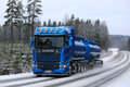 Blue Scania R580 Tanker Trucking in Winter Royalty Free Stock Photo