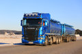 Blue Scania Tank Truck at Speed