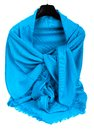 Blue scarf beautifull isolated on white background Royalty Free Stock Images