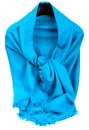 Blue scarf beautifull isolated on white background Stock Photo