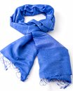 Blue scarf or pashmina isolated on white Royalty Free Stock Photography