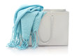 Blue scarf in shopping bag Royalty Free Stock Photo