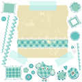 Blue scrapbook kit Stock Image