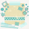 Blue scrapbook kit little boys Royalty Free Stock Photography
