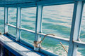 Blue sea on the boat