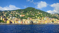 Blue sea at Camogli, Riviera, Italy Royalty Free Stock Photo