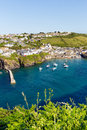 Blue sea english harbour port isaac cornwall north coast england uk Royalty Free Stock Image