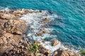 Blue sea and rocks on lighthouse beach in kovalam kerala india Royalty Free Stock Photos