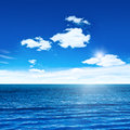 Blue sea sky sun sea summer shot Stock Photo