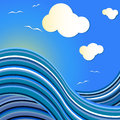 Blue sea wave drawing with flying gulls Royalty Free Stock Photos
