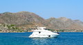 Blue sea and yacht in turkeys bodrum azure yachts this landscape too ordinary for Royalty Free Stock Photography