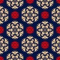 Blue seamless background. Floral beige and red pattern Royalty Free Stock Photo