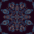 Blue seamless oriental floral lace pattern peacock feathers Royalty Free Stock Photo