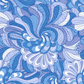 Blue seamless pattern background with stylized of leaves and flowers in colors Royalty Free Stock Photography
