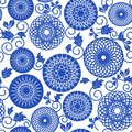 Blue seamless pattern backgrounds beautiful textile old fashioned design Stock Photo