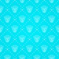 Blue Seamless Pattern with Decorative Elements Stock Photo