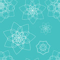 Blue seamless pattern with floral mandala Royalty Free Stock Photo