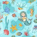 Blue seamless pattern with mermaid cartoon vector background Royalty Free Stock Photo