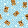 Blue seamless pattern with teddy bear