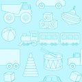 Blue seamless pattern with toys silhouettes this is file of eps format Stock Photo