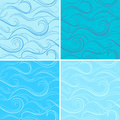 Blue seamless texture with waves four illustration Stock Photography