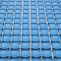 Blue seat in sport stadium empty seats ready for the public Royalty Free Stock Images