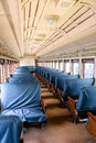 Blue Seats in Old Passenger Train Royalty Free Stock Photo