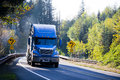 Blue semi truck and flat bed trailer on sunny green and gold aut Royalty Free Stock Photo