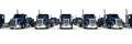 Blue Semi truck fleet Royalty Free Stock Photo