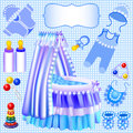 Blue set of children s cradle beanbag booties sliders illustration a Stock Image