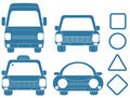 Blue set of transport silhouettes Stock Photography