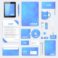 Blue set of vector corporate identity template. Modern business stationery mock-up. Background with blue triangles Royalty Free Stock Photo