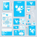 Blue set of vector corporate identity template. Modern business stationery mock up. Branding design with molecule icon Royalty Free Stock Photo