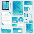 Blue set of vector corporate identity template. Modern stationery mock-up. Background with dark blue triangles. Business Royalty Free Stock Photo