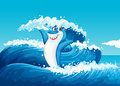 A blue shark and the sea waves illustration of Royalty Free Stock Photography