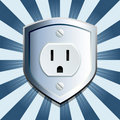 Blue shield electric outlet Royalty Free Stock Photography